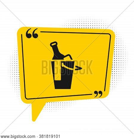 Black Bottle Of Wine In An Ice Bucket Icon Isolated On White Background. Yellow Speech Bubble Symbol
