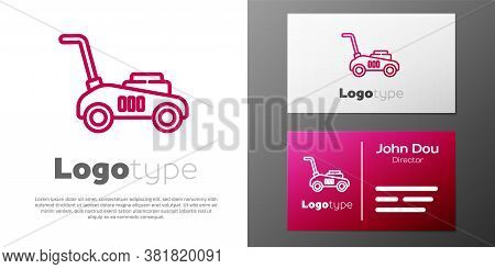 Logotype Line Lawn Mower Icon Isolated On White Background. Lawn Mower Cutting Grass. Logo Design Te