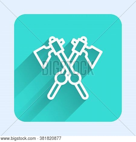 White Line Crossed Medieval Axes Icon Isolated With Long Shadow. Battle Axe, Executioner Axe. Mediev