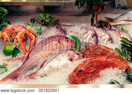 Raw fish and crab on supermarket display, food store, toned