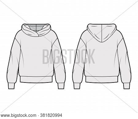 Oversized Cotton-fleece Hoodie Technical Fashion Illustration With Relaxed Fit, Long Sleeves. Flat O