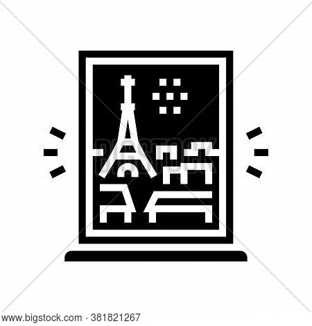 View From Window On Paris Glyph Icon Vector. View From Window On Paris Sign. Isolated Contour Symbol