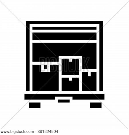 Boxes Upload In Truck Glyph Icon Vector. Boxes Upload In Truck Sign. Isolated Contour Symbol Black I