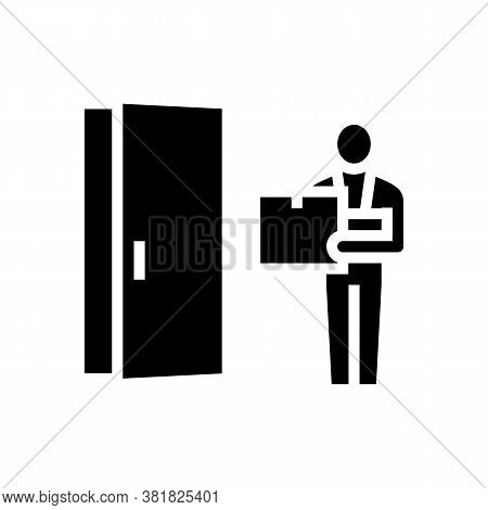 Courier Delivering Box Glyph Icon Vector. Courier Delivering Box Sign. Isolated Contour Symbol Black