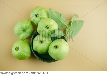 Thai Guava Fruit Has Green Skin And White Flesh Which Are Plenty During The Rainy Season.