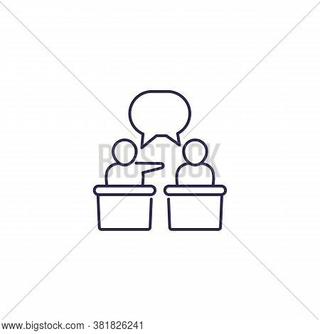 Debate Or Discussion Icon, Line Vector, Eps 10 File, Easy To Edit
