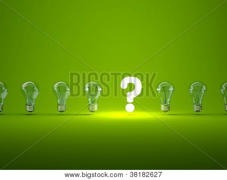 Luminous question sign with light bulbs
