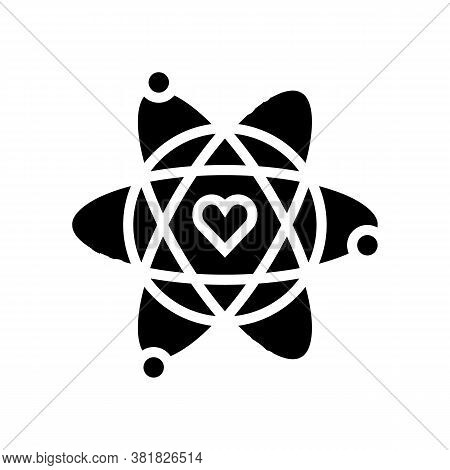 Atom With Heart Core Glyph Icon Vector. Atom With Heart Core Sign. Isolated Contour Symbol Black Ill