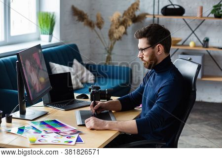 Retouching Images In Special Program.portrait Of Graphic Designer Working In Office With Laptop, Mon