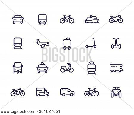 Transport Line Icons Set, Cars, Train, Airplane, Van, Bike, Motorbike, Bus, Taxi, Tuk Tuk, Quad Bike