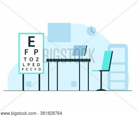Ophthalmologist Office Interior. Vector Concept Illustration Of Optometrist Office Modern Interior W