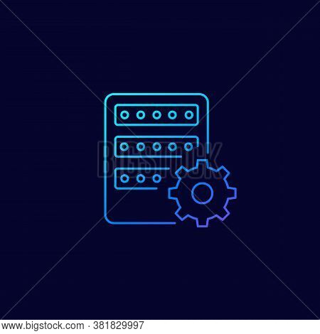 Mainframe, Server Settings, Vector Linear Icon, Eps 10 File, Easy To Edit