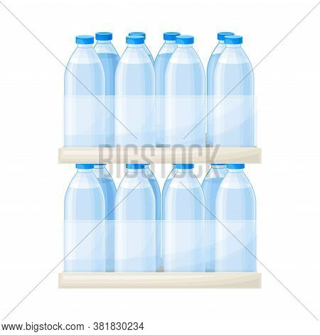Drinking Water Poured In Plastic Bottles Rested On Supermarket Shelf Vector Illustration