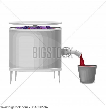 Crushing Grapes In Metal Tank With Pressing Equipment Vector Illustration