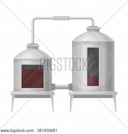 Metal Tank With Grape Juice As Alcoholic Fermentation Vector Illustration