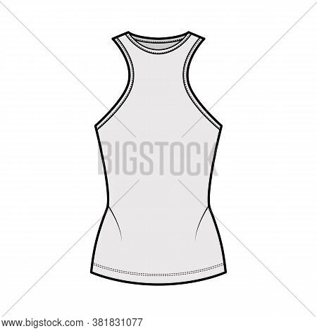 Cotton-jersey Tank Technical Fashion Illustration With Racer-back Straps, Slim Fit, Elongated Hem, C