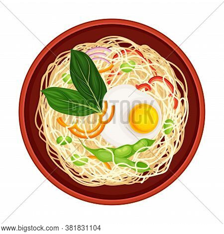Cooked Noodle Served In Bowl And Garnished With Herbs Above View Vector Illustration