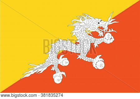 National Bhutan Flag, Official Colors And Proportion Correctly. National Bhutan Flag.