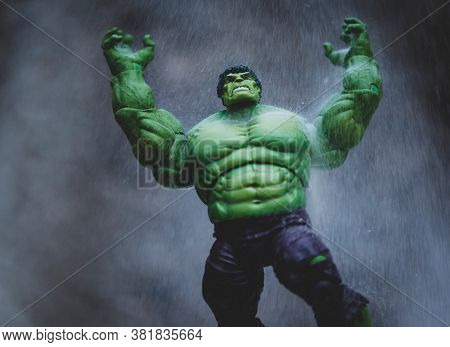 AUGUST 21 2020: The Hulk in rage from the Marvel Comics and The Avengers - Hasbro action figure
