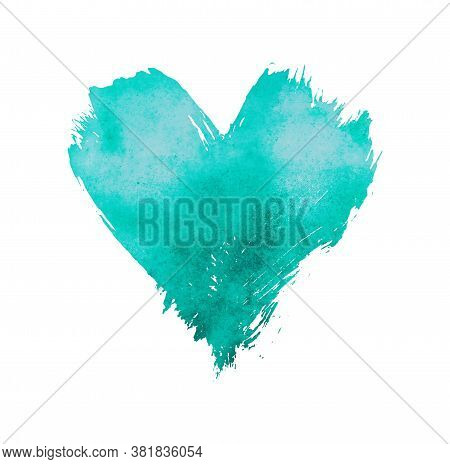 Teal Blue Pastel Watercolor Painted Heart With Brushstroke Grunge Shape And Paintbrush Texture Isola