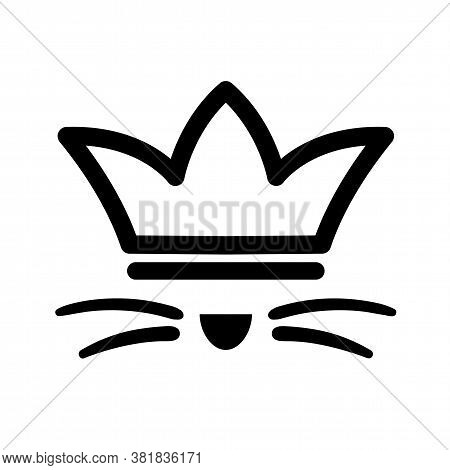 Pet With Whisker In Crown Logo. Royal Cat Black Sign On White Background. Cute Kitty Happy In Luxury