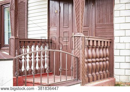Old Wooden Porch. Entrance To The House. Old Wooden Structures. Architecture And Construction. Prese