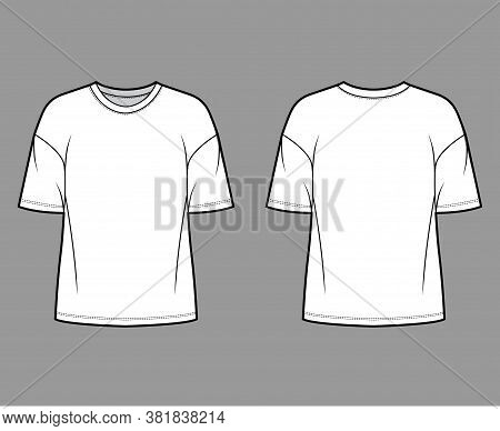 Cotton-jersey T-shirt Technical Fashion Illustration With Crew Neckline, Elbow Sleeves, Dropped Shou