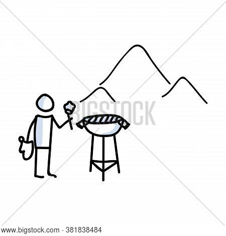 Hand Drawn Stickman Cookout Bbq Concept. Simple Outdoor Vacation Doodle Icon For Staycation, Family