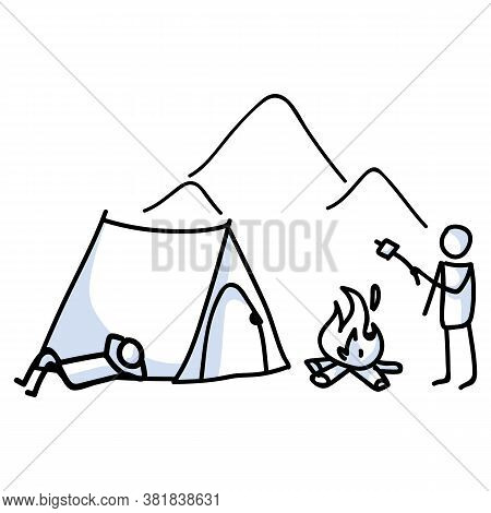 Hand Drawn Stickman Camping Tent And Campfire Concept. Simple Outdoor Vacation Doodle Icon For Stayc