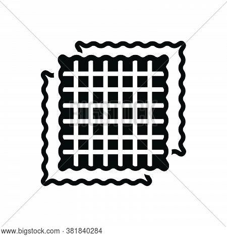 Black Solid Icon For Fabric Cloth Textile Cloths Weft Raiment Costume Attire Texture Structure
