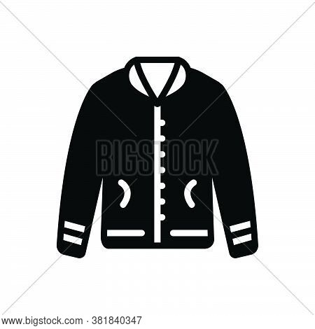 Black Solid Icon For Jacket Fabric Cloth Textile Cloths Weft Raiment Costume Winter Attire Garment D