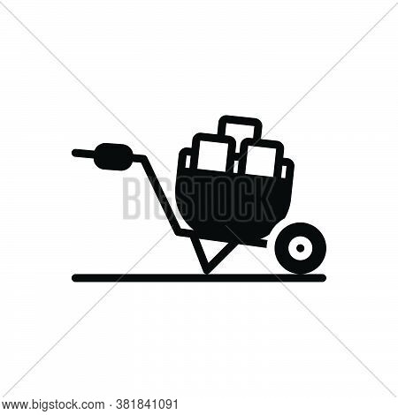Black Solid Icon For Wheel-barrow Wheel Barrow Agriculture Carry Hauling Tote Pushcart Construction
