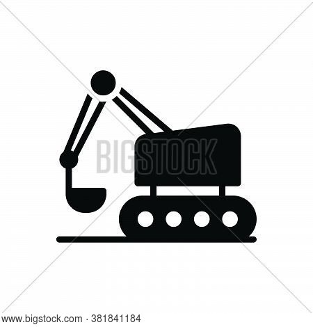 Black Solid Icon For Bulldozer Excavator Road-roller Crawler  Backhoe Build Equipment Mini Machinery