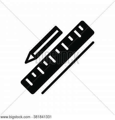 Black Solid Icon For Measuring Calibrating Ruler Stationery Instrument Yard Yardage Scale Meterage I