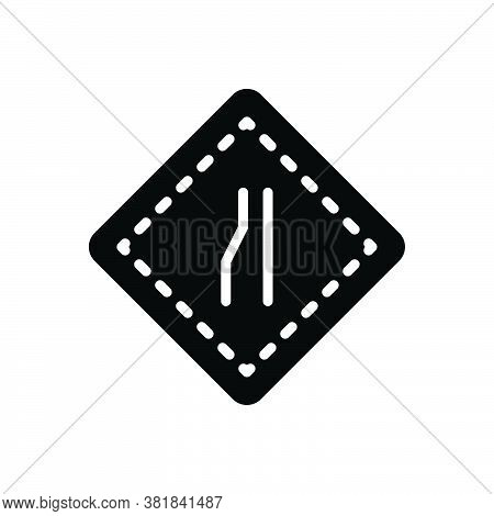 Black Solid Icon For Narrow Parochial Highway Merge Space Space Tight Contracted Limited