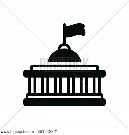 Black Solid Icon For Nation Democracy Monarchy Building Capitol Federal History Architecture