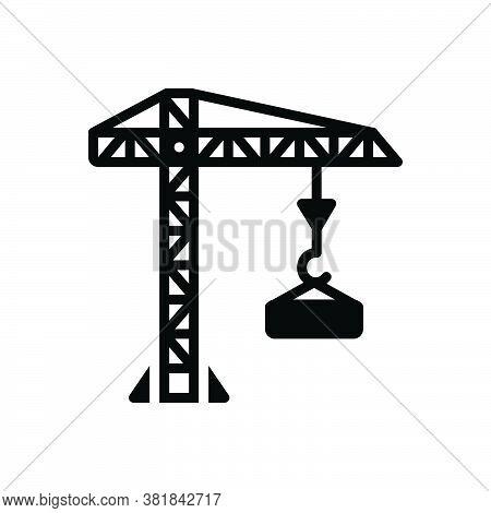 Black Solid Icon For Crane-building Crane Building Constructing Harbor Tower Building Architecture
