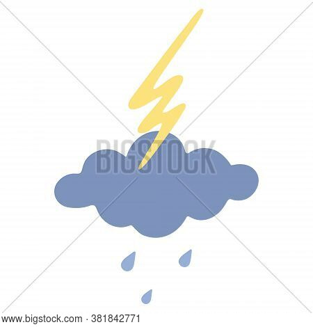 Cloud, lightning and raindrops. Storm. Boho style. Vector illustration. Isolated white background. Bright electrical discharge. Weather forecast. The shower begins. Drops are dripping from heaven. Pastel tone. Web design, children room decoration.