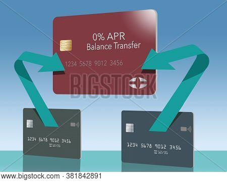 Arrows Show The Path Of Money From Two Credit Cards Being Transferred To One Lower Rate 0% Apr Balan