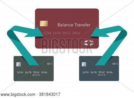 Arrows Show The Path Of Money From Two Credit Cards Being Transferred To One Lower Rate Card. Red, G