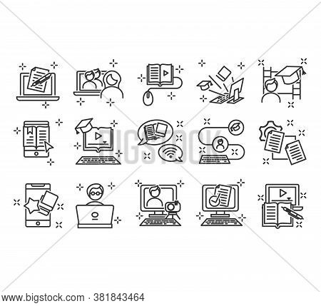 Set Of Education Outline Icons Isolated On White Background. School And University Vector Flat Line