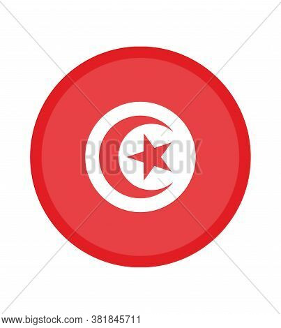 National Tunisia Flag, Official Colors And Proportion Correctly. National Tunisia Flag. Vector Illus