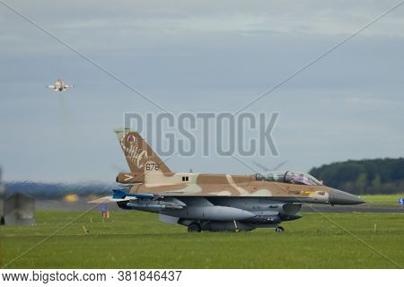 Nörvenich Germany Aug. 20 2020: Israeli Air Force F-16 Barak Taking Off From Nörvenich Air Base.