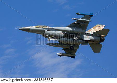 Nörvenich Germany Aug. 20 2020: Israeli Air Force F-16 Barak Landing At Nörvenich Air Base.