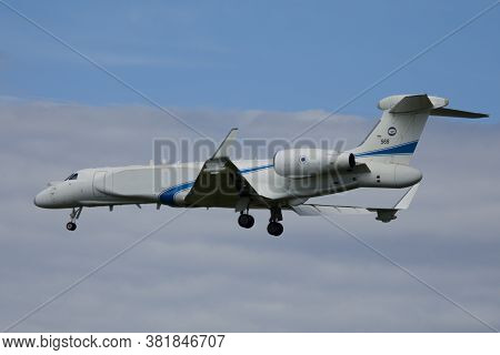Nörvenich Germany Aug. 20 2020: Israeli Air Force Iai El/w-2085 Landing At Nörvenich Air Base.