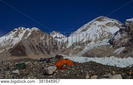 Everest Base Camp, Nepal, 20 October 2018 - View From Mount Everest Base Camp, Tents And Prayer Flag