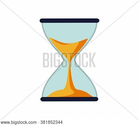 Hourglass Antique Instrument. Hourglass As Time Passing Concept For Business Deadline, Urgency And R