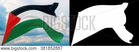 Waving Flags Of The World - Flag Of Palestine. Set Of Flag And Alpha Matte 3d Illustration. Very Hig
