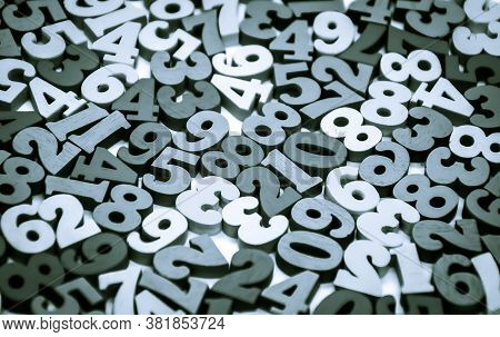 Black And White Background Of Wooden Numbers From Zero To Nine. Abstract Texture With Numbers. Conce