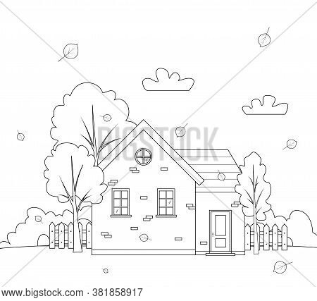 Autumn Landscape With Country House. City Landscape. Outline House, Architecture. Vector Lineart Ill